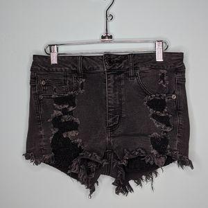 American eagle distressed denim black shorts
